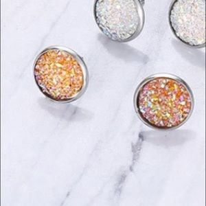 💫Coming Soon💫 Orange Druzy Round Stud Earrings